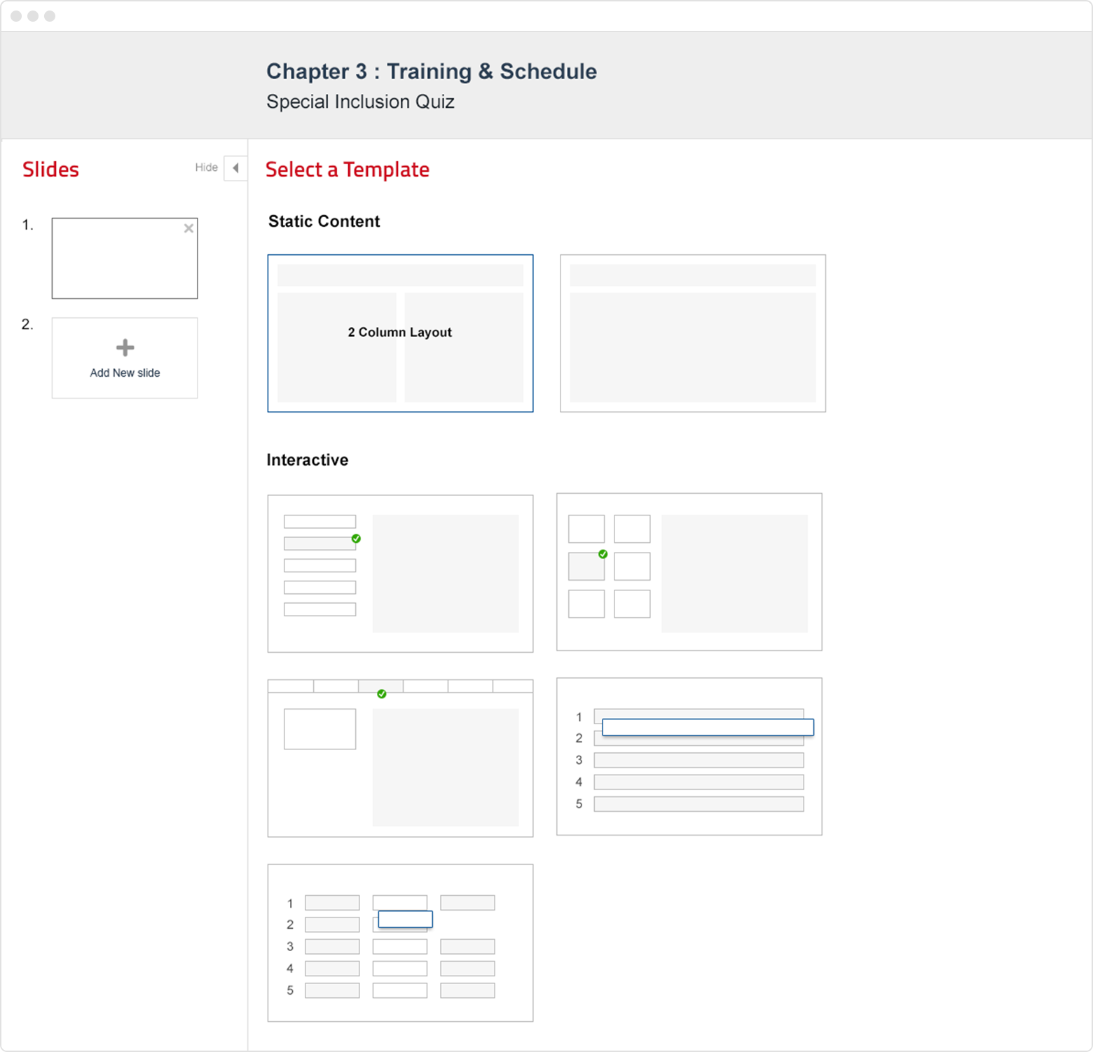Selecting a template in the course builder
